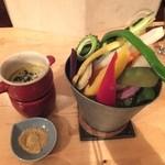 島野菜カフェ Re:Hellow BEACH - 食べ放題の島野菜バーニャカウダ