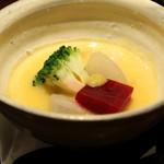 月よみ庵 - 先付 冬野菜とバターナッツ南瓜のすり流し (2014/12)