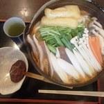 庵々 - モツ鍋うどん(1200円)
