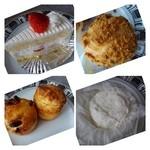 Sugar Bear - 料理写真:◆シュークリーム(300円)・・スポンジ生地がフワフワで美味しい。生クリームは普通の味わい。 ◆愛宕シュー(150円)・・皮はクッキー生地仕様。 ◆フロマージュ(320円) ◆スコーン(140円)