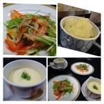 たつみ寿司 - *大根の煮物と野菜サラダ・・下に煮た大根が敷かれています、。上は普通の野菜サラダ。 *茶碗蒸し・・お魚の出汁をよく感じる「茶碗蒸し」です。銀杏・かまぼこなどが入っていました