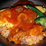 マドリード - パエリアランチ フワフワオムレツパエリア鶏肉とトマト煮込み