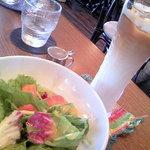 ピッツェリア Tatsunoko - ランチサラダとアイスカフェラテ