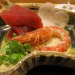 日本料理 太月 - 26年12月 大間鮪、鹿児島車海老、ハート大根 酒盗、醤油で