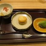 日本料理 太月 - 26年12月 干し柿淡雪仕立て、小豆マカロン、抹茶アイス