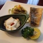 月桃庵 - ゴーヤパスタ,焼き鯖,ジーマミー豆腐