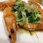 台湾料理 光春 - 天使の海老の葉ニンニク炒め