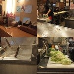 博多八昌  - 調理風景など。左下:麺を注文を受けてからゆでる 右下:キャベツを人の手で刻んでいる
