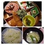 33641313 - 週末限定のお勧め膳(1500円:外税)・・海老フライ・小さ目ヒレカツ・ホウレンソウの天ぷらがメイン。                       他に煮物などが付いています。                       こちらは「まぜご飯」と「ワカメのお味噌汁」が付きます。