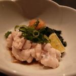 森の湯 - 酢物:鱈の白子、蛇腹胡瓜、若布、浅葱、もみじ卸し、ポン酢、絞り酢橘