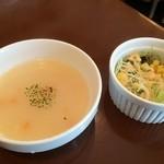 サウザンステーキ - スープとサラダ