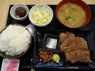 すてーき丼屋 - 山形牛A5 サーロインステーキ膳(1480円)