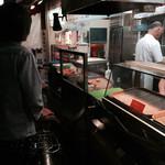 33660667 - 持ち帰り専門の西天下茶屋駅踏切側のコロッケ屋。注文してから揚げるので、いつもアツアツで美味しい。