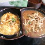 らーめん 江楽 - ミニ天津飯+ミニ味噌台湾ラーメン