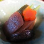 笹の葉 - 椎茸、人参、牛蒡、南瓜、蒟蒻、隠元、高野豆腐の煮物アップ