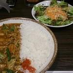 33679010 - 豚肉と3種のキムチカレー851円と野菜サラダ185円