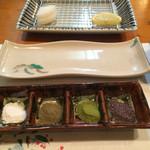割烹てんぷら 天露 - 長崎塩をベースに 山椒、抹茶、紫蘇味の塩をどうぞ!
