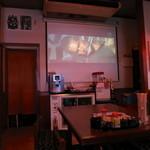 知多大府屋たがや - 店内は薄暗くプロジェクターで映画が流れています