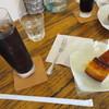 CAFE K - 料理写真:自分はアイスコーヒーとベイクドチーズケーキ。セットで700円。