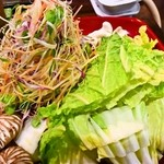 御料理武蔵野 - そばしゃぶ鍋(野菜類)