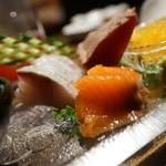 夜景のみえる 北海道原始焼き酒場ルンゴカーニバル - サーモン、かつおたたき、ブリ