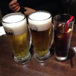 香港厨房 - 生ビール×2とコーラ