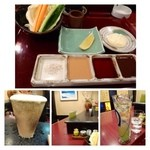 禅 - 最初は、ビールと梅酒のソーダ割りを頂きました。       ソースは「塩」「マスタードソース」「ポン酢」「トンカツソース」「タルタルソース」の5種類。