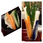 禅 - 此方ではお野菜が2種類出されます。この「お葱」が美味しいのですよ。