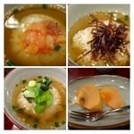 禅 - 「蛸の明太子和え茶漬け」「胡麻昆布茶漬け」「野沢菜茶漬け」・・このお出汁が美味しいこと。 蛸のが明太子和え茶漬け好みでした。 デザートの「柿」