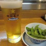大漁 やまちゃん - 生おビア500円+つきだしの枝豆300円(税別)