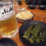 33715447 - 生ビール[313円]、和風おくらキムチ/もやしナムル[205円]
