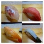 松喜寿司 - 中握り(1700円:外税)・・にぎり8貫とお吸い物のセットです。       シャリは平均的な品で、少し丸みのある形でしょうか。       「鯛」「中トロ(厚みがあり美味しいそうです)」「海老」「烏賊」