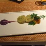33725161 - ホタテ貝の香草パン粉焼き ラルドを巻いた根菜カポナータ