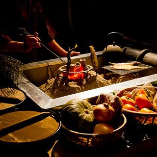 昔懐かしい囲炉裏料理