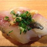 いなせ寿司 - 肉厚の鰺は、ポン酢で頂く