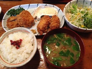 仁亭 - 旬メニュー かきフライとひれ揚げ
