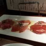 膳菜や - 生ハム3種食べくらべ(手前からスペイン、日本、イタリア)