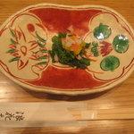 蕎麦しゃぶ総本家 浪花そば  - ひなしゃぶ膳の菜の花とカニカマの酢味噌和え