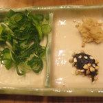 蕎麦しゃぶ総本家 浪花そば  - 薬味(葱・生姜・蕎麦味噌)