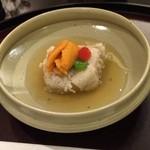 日本料理 太月 - 先附け くるみ豆腐 白線揚げ 生雲丹とパプリカ 薄葛餡 2014-12