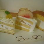 ボンクール - H26.8 和梨と栗のショートケーキ・もものショートケーキ・ぼんるーろチビ