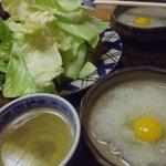 鳥仙 - お通しはキャベツと鶉玉子いり大根おろしと鶏スープ