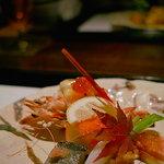 ひのきざか - 海老のロースト・マヨネーズソース和え、秋刀魚・鮭・いちじくなど盛り合わせ