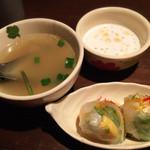 33801734 - ランチのスープ、生春巻、タピオカ