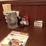グリルらんぷ亭 - テーブル席(水飲みの僕には、お水セルフはうれしい!!)