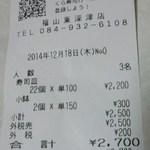 無添くら寿司 - レシート(2014.12.18)