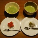 鈴懸 - 細君が買ってきた鈴懸の和菓子と抹茶