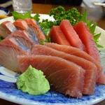 飲み喰い処 志満 - 料理写真:かんぱちとマグロの盛合せ(550円)