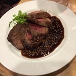 五反田 ジビエバル Umagoya - 鹿肉ステーキ 固いけど味ある一品。
