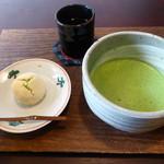 月天心 - (季節菓子)柚子しぐれ(150円)、抹茶セット(菓子代にプラス400円)